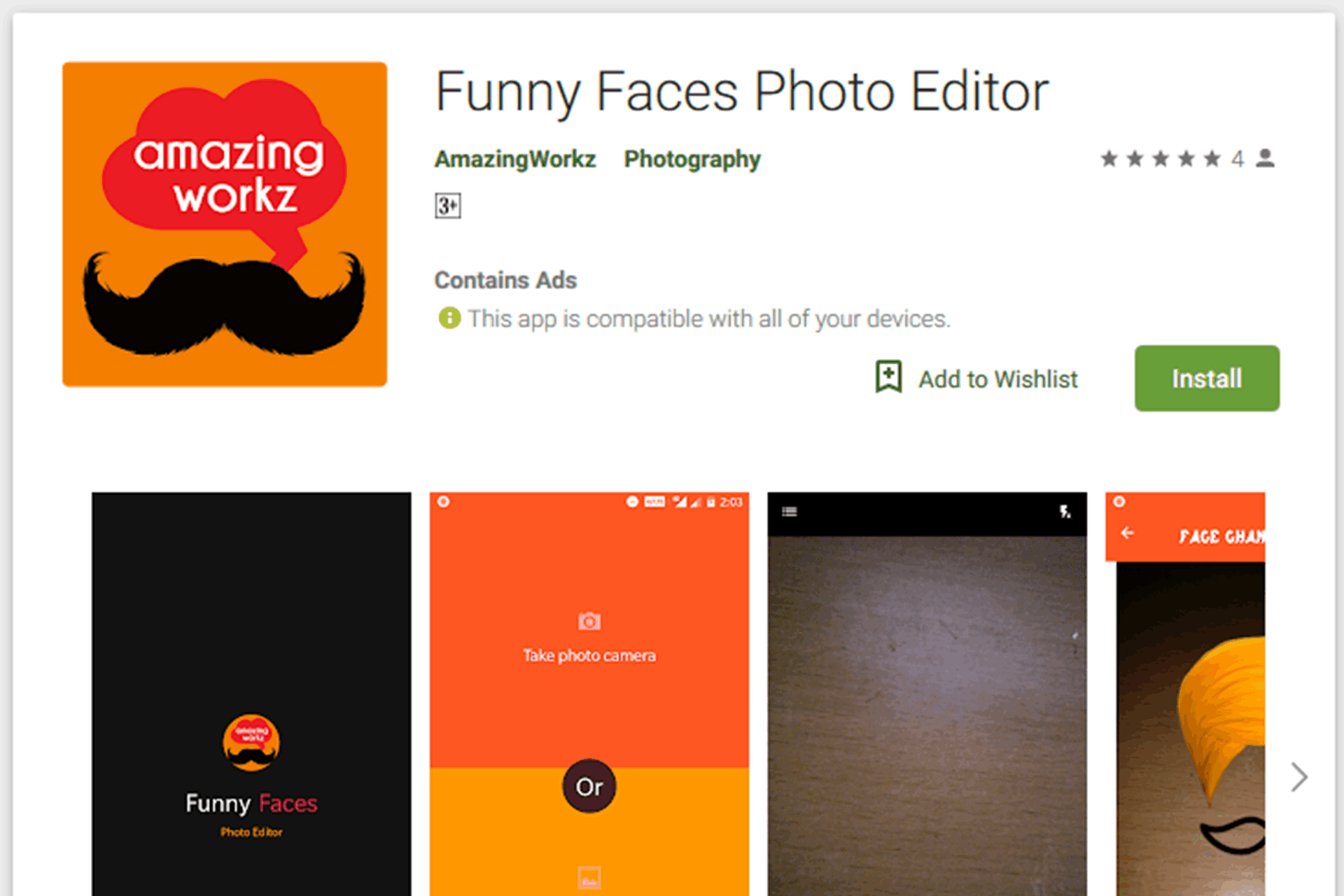 Funny faces Android